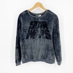 Star Wars Fuzzy Gray Black Pullover Sweater Medium